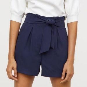 H&M Navy Blue High Rise Paperbag Tie Waist Shorts